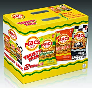 Mac's Snacks Traditional Variety Pack - Comes With 4 Original, 3 Bar B Q, & 3 Salt & Pepper - Crunchy Low Carb Chicharrones / Pork Rinds Snack (1oz, 10 Pack)