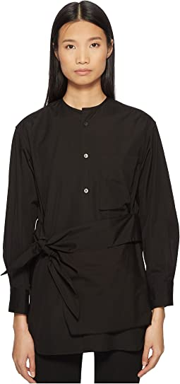 K-Collarless Tie Front Button Up Shirt