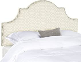 Safavieh Hallmar Silver/ Cream Moroccan Pattern Upholstered Arched Headboard - Silver Nailhead (King)