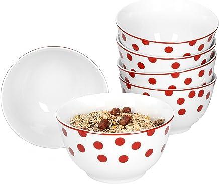 Preisvergleich für Van Well 6er Set Müslischale Funny | edles Porzellan-Schälchen für Suppe, Obst & Salat | 750 ml | weiß mit roten Punkten
