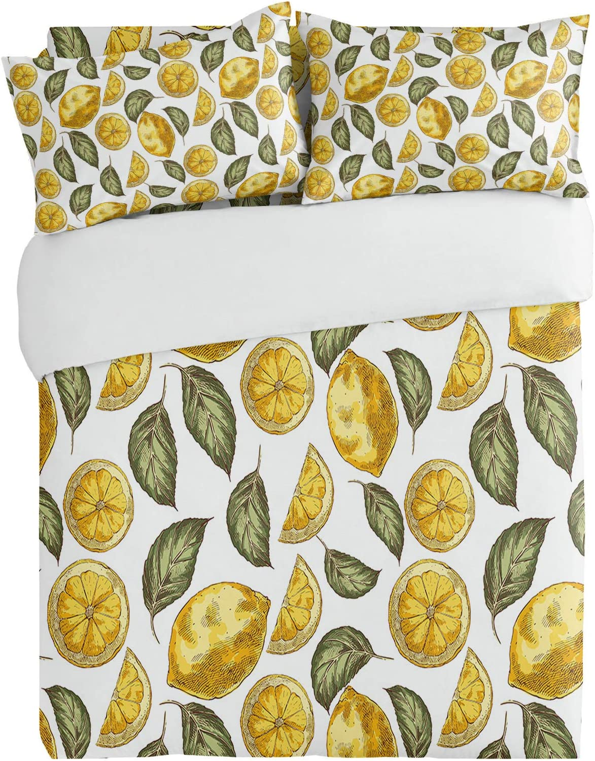 OneHoney Summer Watercolor Omaha Mall Lemon 4pcs Shower N Seattle Mall Curtain with Sets