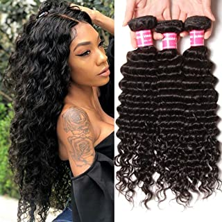 YIROO Deep Wave Brazilian Virgin Hair 3 Bundles Unprocessed 100% Human Hair Extensions Natural Color (14 16 18, 3 Bundlles)