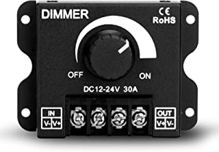 LED Dimmer DC 12V-24V Lighting Dimming Controller 30A 12 Volt 24 Volt Light Dim Switch. Easy Solution For LEDs Strips Tubes Bars. Eliminate Messy Wiring Work, Save Hassle Of Crimping and Connecting
