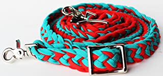 PRORIDER Roping Knotted Horse Western Barrel Reins Nylon Braided Romel Turquoise RD 60792