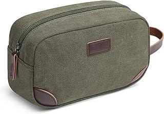 Men's Travel Toiletry Organizer Bag Canvas Shaving Dopp Kit TSA Approved (Army Green-1)