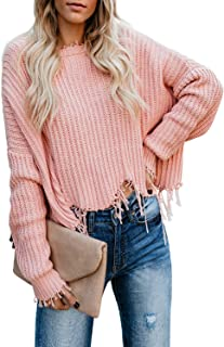 Womens V Neck Long Sleeve Cotton Ripped Distressed Pullover Knitted Sweater