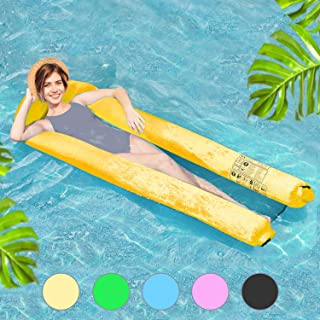 Henkelion Inflatable Adult Pool Floats, [2019 Upgraded] Pool Floating Lounger Chair for Kids Adults with Compact Carry Bag | Fast Inflated No Pump Needed | 5-Color Swimming Pool Floating Bed Air Sofa Yellow