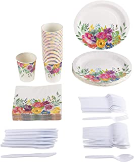 Disposable Dinnerware Set - Serves 24 - Vintage Floral Party Supplies for Birthday, Wedding, Bridal Shower, Assorted Blooms Design, Includes Plastic Knives, Spoons, Forks, Paper Plates, Napkins, Cups