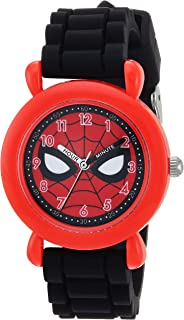MARVEL Boys Spider-Man Analog-Quartz Watch with Silicone Strap, Black, 16 (Model: WMA000238