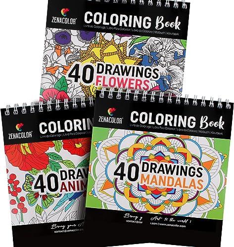 Lot de 3 Livres de Coloriage : Animaux, Mandalas, Fleurs - Livre de Coloriage Adulte ou Enfant à Spirales pour Loisir...