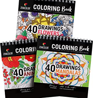 Set of 3 Coloring Books: Animals, Mandalas, Flowers - Coloring Books for Adults & Kids - Hobbies for Anxiety & Stress Reli...