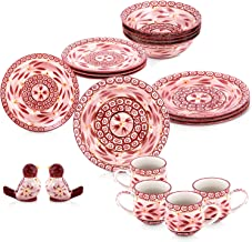 Chef Manal Alalem Temptations Cranberry Dinnerware Set - 18 Pieces, Red, Ceramic Material
