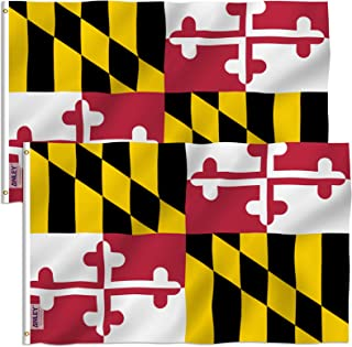 Anley Pack of 2 Fly Breeze 3x5 Foot Maryland State Polyester Flag - Vivid Color and UV Fade Resistant - Canvas Header and Double Stitched - Maryland MD Flags with Brass Grommets 3 X 5 Ft