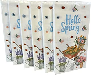 Hello Spring Floral Paper Guest Towels or Dinner Napkins, 14 Count (Pack of 6)