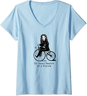Womens Sir Isaac Newton on a Bicycle V-Neck T-Shirt