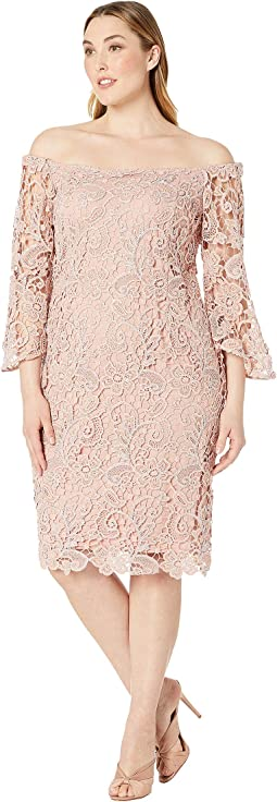 Plus Size Off Shoulder Metallic Lace Bell Sleeve Dress