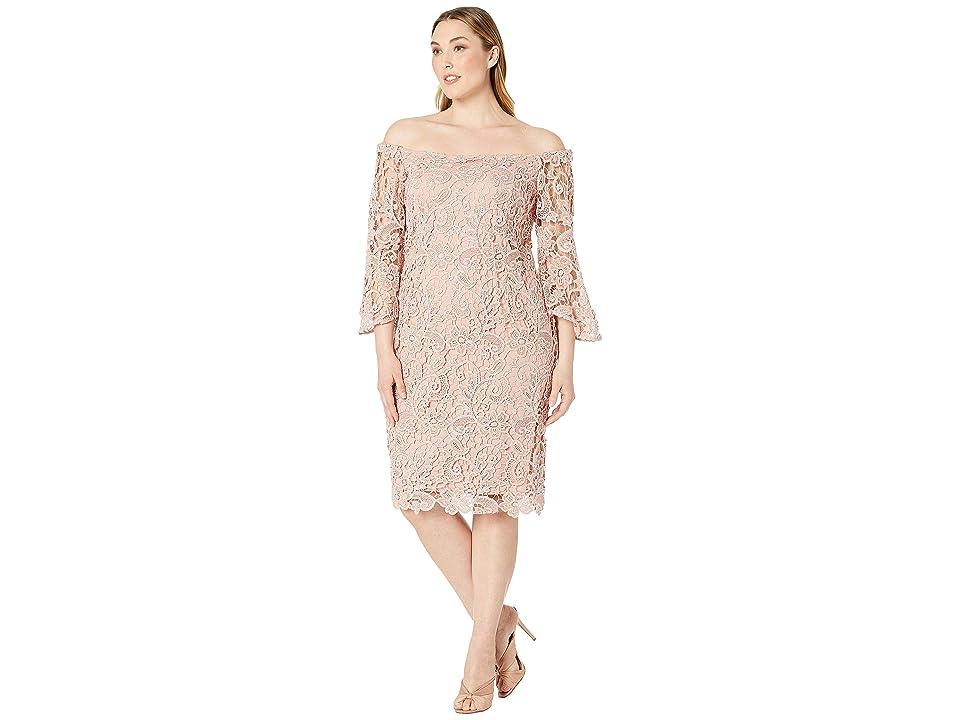 MARINA Plus Size Off Shoulder Metallic Lace Bell Sleeve Dress (Blush) Women