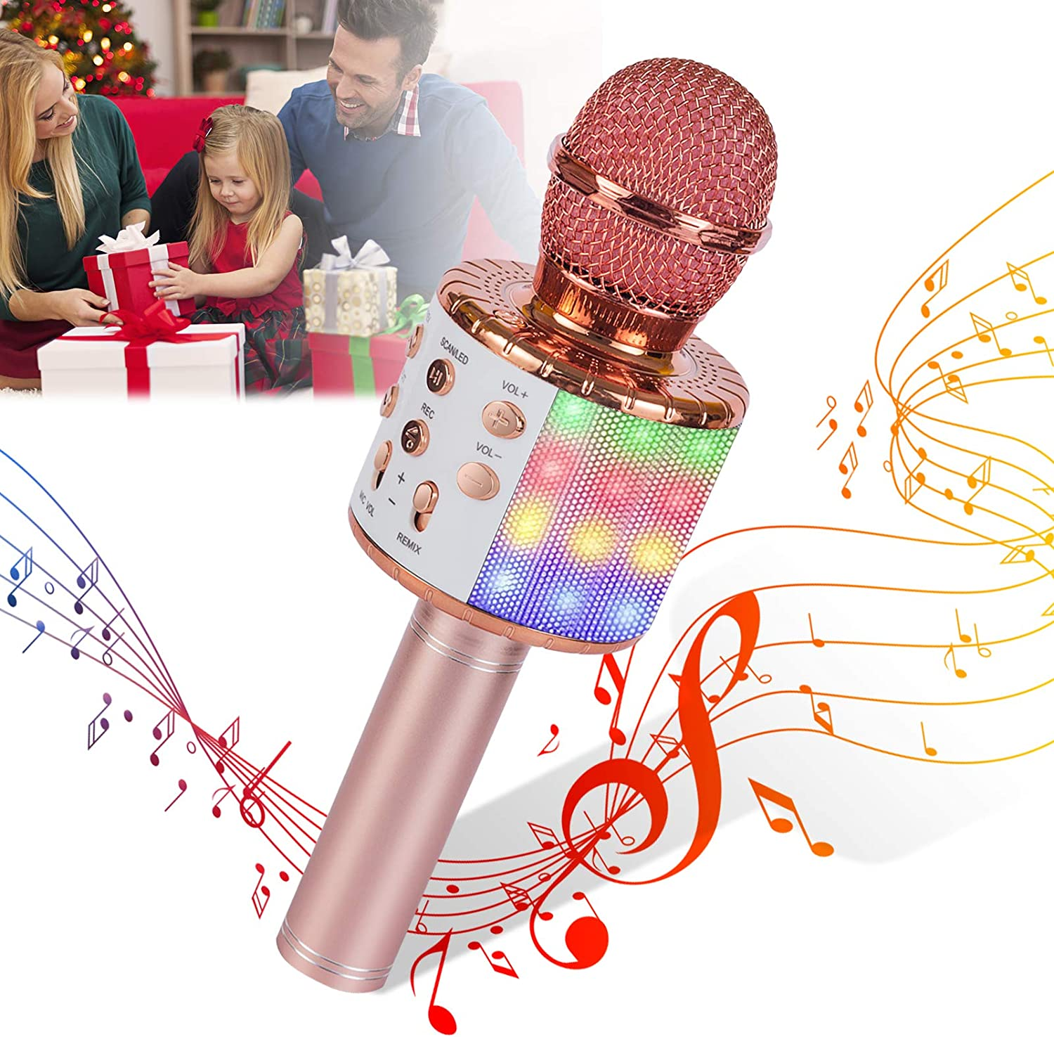 Kids Wireless Microphone Wireless Karaoke Microphone for Kids Girl Rose Gold Bluetooth Voice Changing Microphone with LED Lights Best Gift Toy Microphone for Kids Christmas