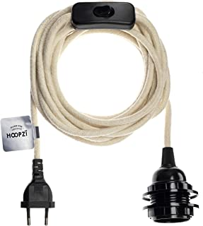 Hoopzi - Bala - Portalamparas E27 con Enchufe y interruptor - Cable Electrico Trenzado Vintage - 36 Colores - 4,5 Metros - Color Algodón Blanco