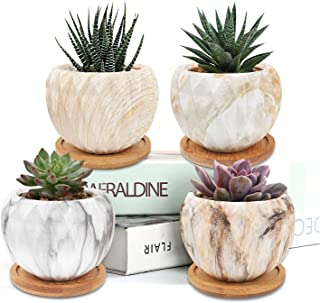 Hongyans 4 Pezzi Vasi Piccoli per Piante Grasse Vaso da Fiori in Ceramica Mini Vasi Cactus Vasetti Piante Grasse con Vasso...