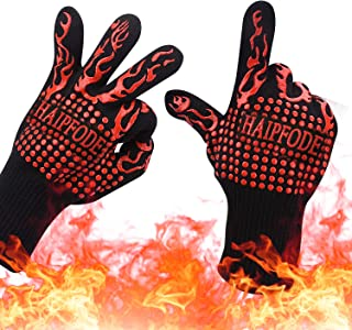BBQ Grill Gloves ,1472°F Extreme Heat Resistant baking / Oven Gloves with L3 Cut Resistant,Fireproof Mitt For Cooking, Grilling, Frying, Baking , Men & Women Indoor/Outdoor heat proof Accessories