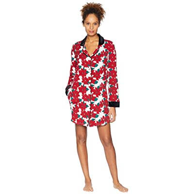 BedHead Pajamas Long Sleeve Classic Notch Collar Sleepshirt (Poinsettia) Women