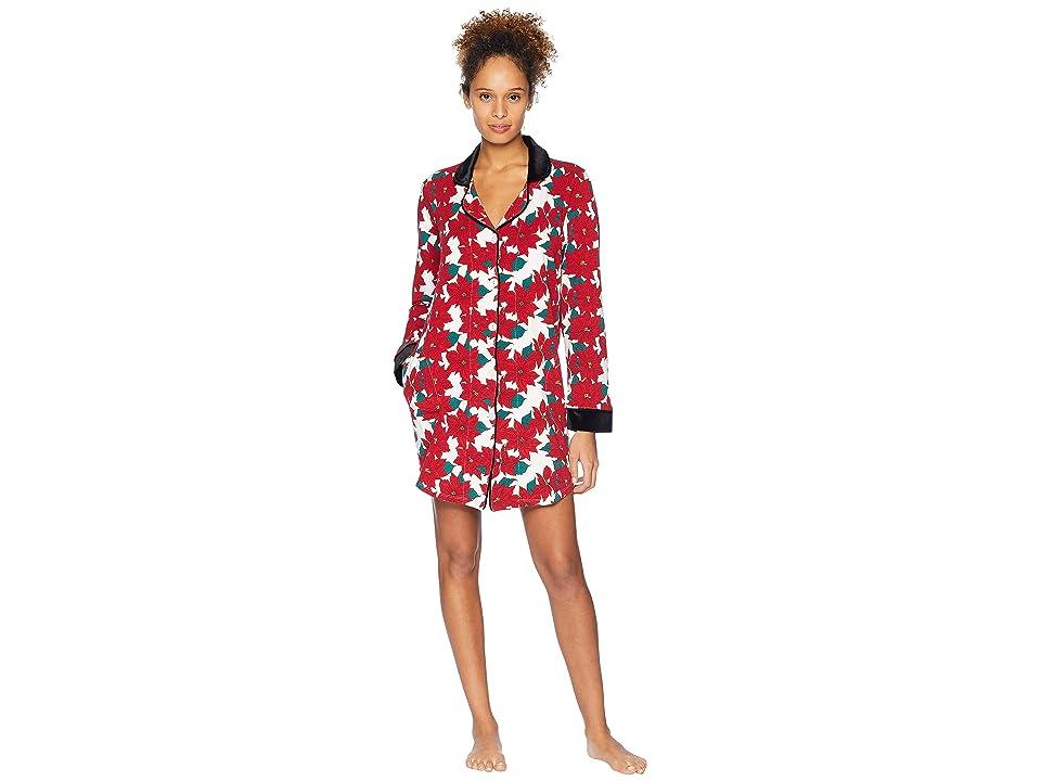 BedHead Long Sleeve Classic Notch Collar Sleepshirt (Poinsettia) Women