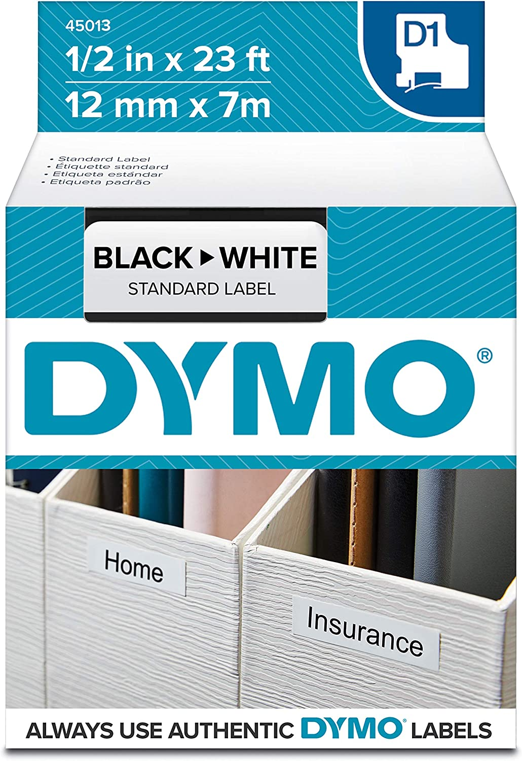 DYMO Authentic 1 Black Print on White Self-Adhesive 1761260 3//4 x 23 Roll DYMO D1 Labels