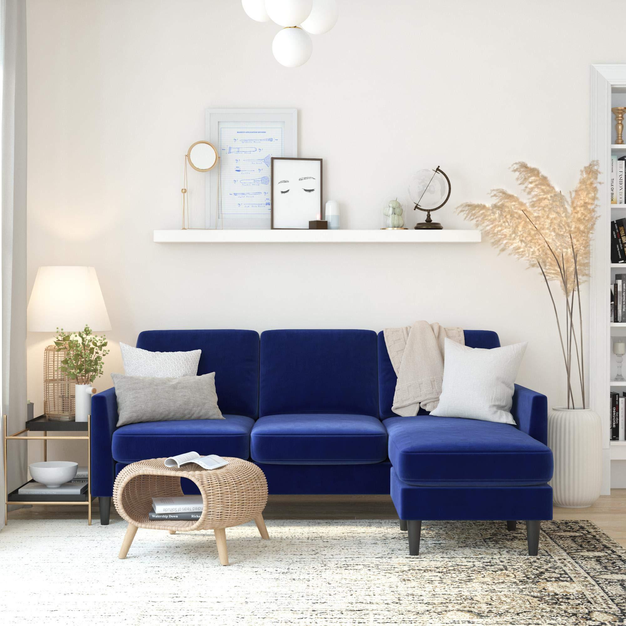 Mr. Kate Winston Sofa Sectional, Blue Velvet