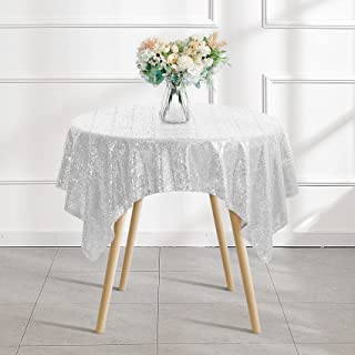 """50""""x50"""" Silver Sequin Tablecloth Square Glitter Silver Table Cloths for Birthday Wedding Bridal Baby Shower Party Decorations"""