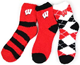 Donegal Bay NCAA Wisconsin Badgers 3 Piece Fuzzy Sock Bundle, Multicolor, One Size Fits Most