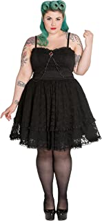 793246b7928 Spin Doctor Plus Size Black Gothic Lace Silver Brooch Vampire Zylphia Mini  Dress