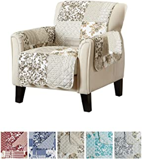 Great Bay Home Patchwork Scalloped Printed Furniture Protector. Stain Resistant Chair Cover. (Chair, Taupe)