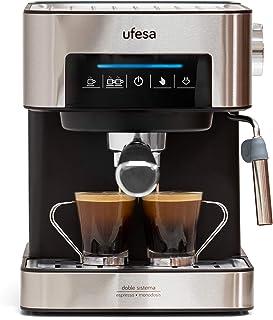 Ufesa CE7255 Cafetera Expresso y Capuccino con Panel Táctil Digital, Vaporizador Orientable, 20, 2 Modos: Café Molido o Mo...