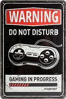 Nostalgic-Art 22264 Plaque Vintage Gaming in Progress – Idée de Cadeau pour Les Gamers, en métal, Design Retro pour la déc...