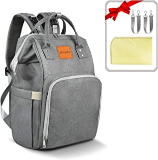 Diaper Bag Backpack, Large Capacity Multi-Function Waterproof Durable Travel Back Pack Baby Nappy Bag Organizer with Insulated Pockets/Changing Pad/Stroller Straps for Boys Girls(Dark Gray)