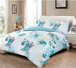 Nimsay Home Victorian Rose - Juego de funda de edredón de algodón 100%, para camas de 90cm, 135cm, 180cm o 200cm, 100% algodón, azul, matrimonio grande