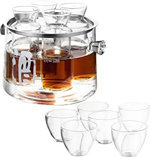 MyGift 11-Piece Clear Glass Tasting Sake Set with Warmer