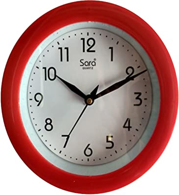 Stop to Shop Small Wall Clock for Kitchen/Study Room (Red)