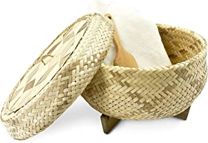 """PANWA Handmade 100% Natural Thai Bamboo Sticky Rice """"Electric Cooker Steamer Set"""", Large Pot Insert ~ 7.5 Inch, Checkered Wicker Woven Lid, 16'' Cheesecloth Filter, and Wooden Spoon"""