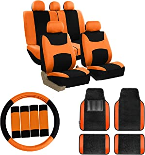 FH Group FB030115 Combo Set: Light & Breezy Cloth Seat Cover Set Airbag & Split Ready W. FH2033 + F14403BLACK Carpet Floor Mats, Orange/Black- Fit Most Car, Truck, SUV, or Van