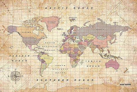 Miss Wood Vintage Weltkarte Aus Kork Und Holz In Größe L In Aquarellfarben Mehrfarbig 60 X 45 X 0 4 Cm Küche Haushalt