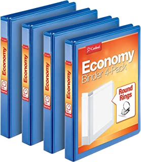 Cardinal Economy 3 Ring Binder, 1 Inch, Presentation View, Blue, Holds 225 Sheets, Nonstick, PVC Free, 4 Pack of Binders (...