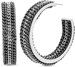 Steve Madden 3-Row Chain Design Two-Tone Open Hoop Earrings for Women