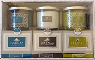 Essenza Luxury Fragrance Candles 3-PC Gift Set (Tahitian Water & Lines, Vanilla, Fresh Agave & Mint)