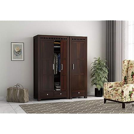 Ebansal Wooden Wardrobe For Bedroom Wood Almirah For Home With 3 Door Multiple Storage Sheesham Wood Walnut Finish Amazon In Home Kitchen