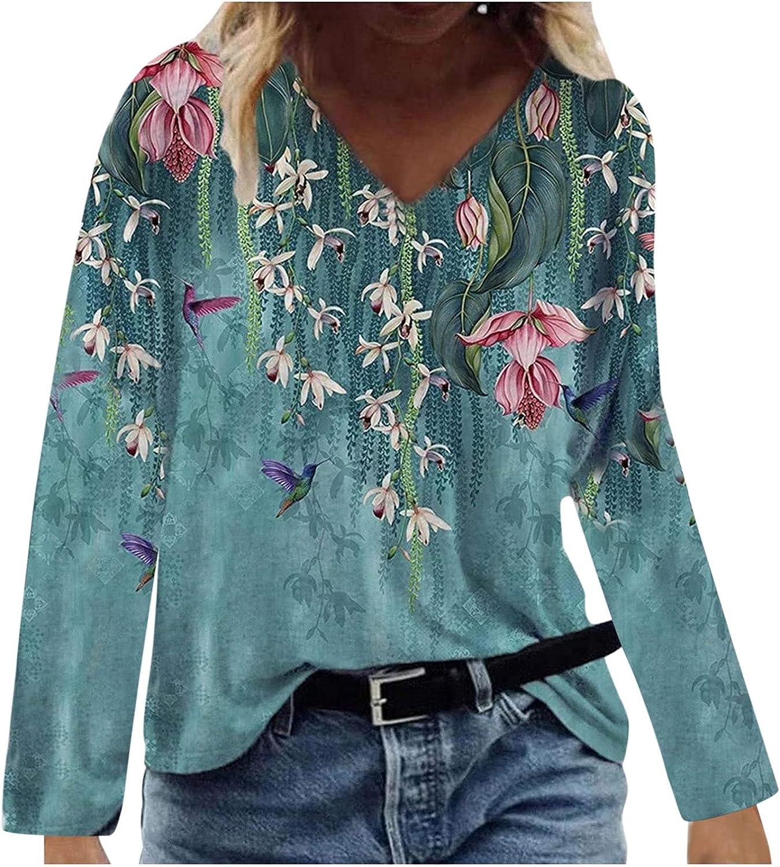 wodceeke Womens Tops V Neck Loose Vintage T-shirts Casual Boho Print Pullover Blouse Thin Long Sleeve Fashion Knit Tshirts
