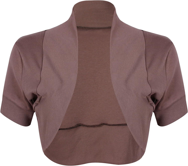 Purple Hanger Women's Bolero Cap Sleeve Cardigan Shrug Top Mocha 20-22