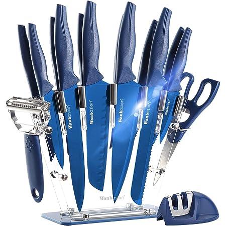 Wanbasion Bleu Bloc de Couteaux de Cuisine avec Support Acrylique, Set de Couteaux Cuisine en Acier Inoxydable, Couteau Cuisine Professionnelle Chef 16pcs
