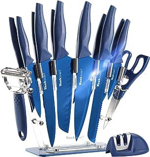 Wanbasion Bleu Bloc de Couteaux de Cuisine avec Support Acrylique, Set de Couteaux Cuisine en Acier Inoxydable, Couteau Cu...